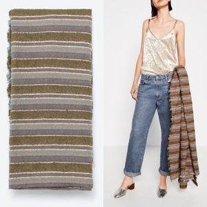 Zara Striped Fringe Oversized Scarf Wrap